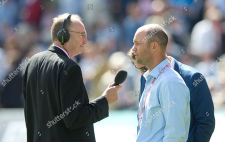 Jonathan Agnew interviews Jonathan Trott during Day One of the 1st Investec Test Match between England and Pakistan played at Lord's Cricket Ground, London on July 14th 2016
