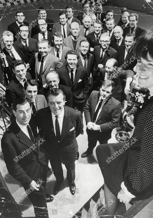 Editorial image of Television Programme: 'world Of Sport'. Presenters Eamonn Andrews (front Row 2nd Left) Dickie Davies (3rd Row Centre) Reg Gutteridge (4th Row Centre) Shaw Taylor (4th Row 2nd Left) Jimmy Hill (back Row 2nd Left). **for Full Names List - See Version