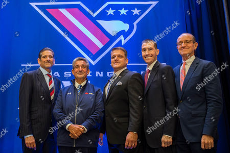 MSE Owner and AFL Managing Partner Roger Mody, MSE Majority Owner Ted Leonsis, AFL Head Coach Dean Cokinos, AFL Commissioner Scott Butera, and MedStar Chief Medical Officer Stephen Evans, from left to right