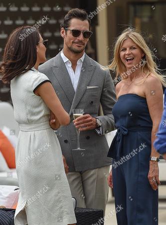 David Gandy with brunette companion and Claire Mountbatten, Clare Mountbatten
