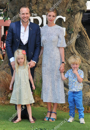 Stock Picture of Rafe Spall, Elize Du Toit & their kids Lena Spall, Rex Spall