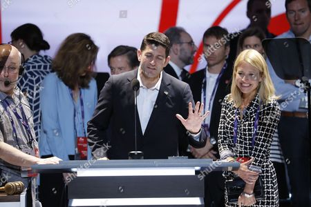 Speaker of the House Paul Ryan, R-Wis., joined by his wife Janna Ryan, preview the stage and do a sound check at the Republican National Convention