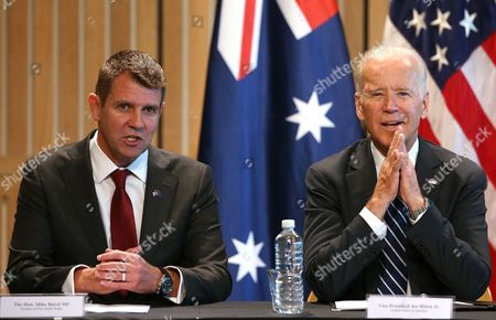 U.S. Vice President Joe Biden, right, and New South Wales state Premier Mike Baird participate in a business roundtable at the Sydney Opera House in Sydney