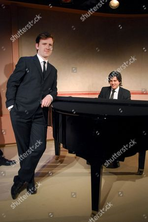 Tom Goodman-Hill (as Peter Cook) and Kevin Bishop (as Dudley Moore)
