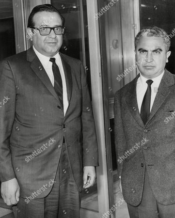 Senor Pedro Ramirez-basquez (l) President Of The Olympic Committee And Eduardo Suarez Aranzolo The Mexican Ambassador To Britain (r) At London Heathrow Airport. Box 674 624031646 A.jpg.