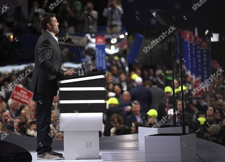 Retired U.S. Navy Seal Marcus Luttrell speaks to delegates during the opening day of the Republican National Convention