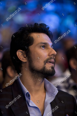 Bollywood actor Randeep Hooda watches WBO Asia Pacific Super Middleweight boxing in New Delhi, India
