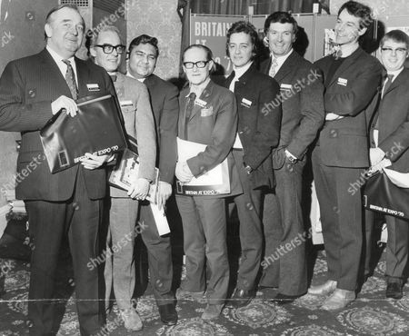 'expo 70' Exhibition. British Designers (l-r) Charles Munro Leslie Gooday Hassan Khan Sir Hugh Casson Michael Caine Kenneth Grange Martin Stinger And Kenneth Goodall. Box 674 324031620 A.jpg.