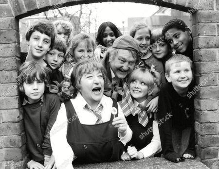Editorial image of Television Programme: Whizzkids Guide. Rita Webb (dressed As Schoolgirl)(l) Arthur Mullard (centre) And Sheila White (dressed As Schoolgirl)(r). Box 674 224031620 A.jpg.