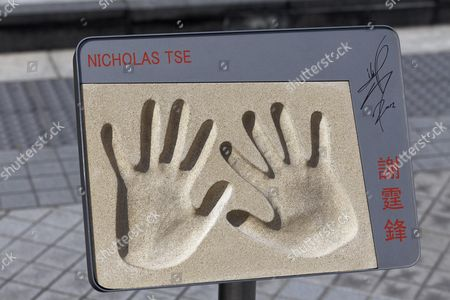 Handprints of Nicholas Tse, Chinese actor, Avenue of Stars, Tsim Sha Tsui, Kowloon, Hong Kong, China
