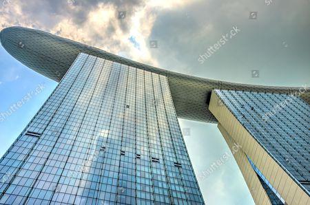 Stock Image of Futuristic Marina Bay Sands Hotel by architect Moshe Safdie, Marina Bay, Downtown Core, Singapore