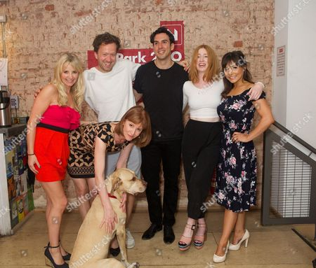 Stock Picture of Carley Stenson, Jez Bond, Charles Dorfman, Elly Condron & Roxanne Pallett. Front row Carolyn Backhouse & Hazel (dog)