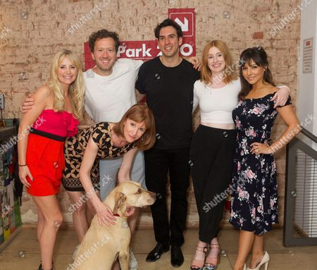 Carley Stenson, Jez Bond, Charles Dorfman, Elly Condron & Roxanne Pallett. Front row Carolyn Backhouse & Hazel (dog)