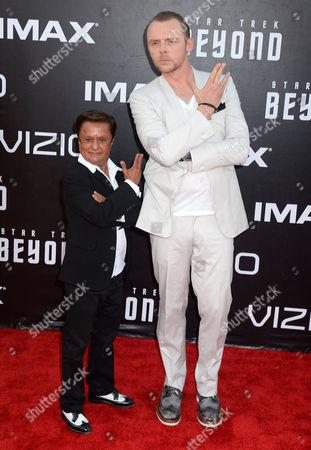 Deep Roy and Simon Pegg