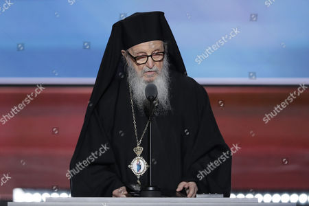 Greek Orthodox Archbishop Demetrios of America delivers the benediction during the third day of the Republican National Convention