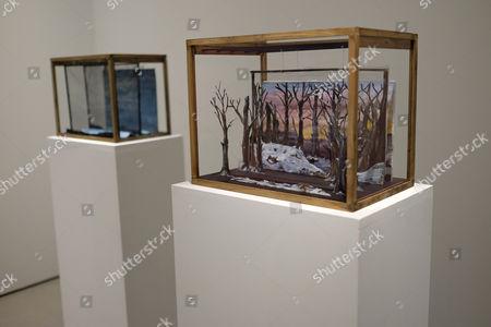 Der Klang der Offenbarung des Gottlichen, 2014 Four dioramas: watercolour on paper
