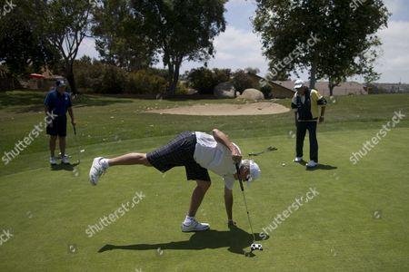 """Stock Image of In this May 4, 2016 picture, Duncan Wallace, center, plays golf with Jim Gibson, left, and Terry Magee, right, in Vista, Calif. Wallace, who owns a medical supplies company, said he's been a conservative for 50 years, ever since he read Barry Goldwater's book, """"Conscience of a Conservative."""" """"I think we punish success, actually,"""" he said. """"I know a lot of people who are quite successful, and they are paying an awful lot of money in taxes. They are paying for people who don't have their oar in the water."""""""