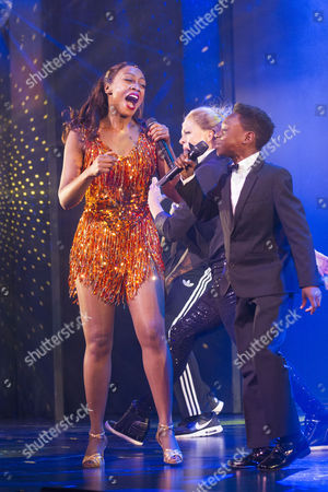 Stock Picture of Beverley Knight (Rachel Marron) and Jaden Oshenye (Fletcher) during the curtain call