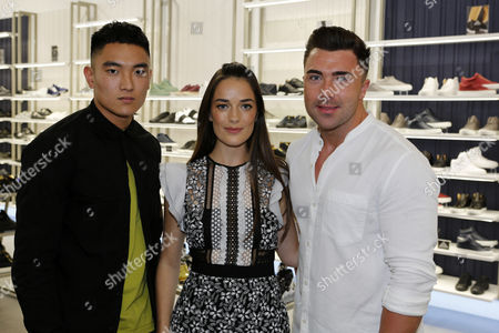 James Tindale (right), from Geordie Shore, at the VIP opening party of Flannels at the Intu Metrocentre in Gateshead, England. The fashion store is located in the Metrocentre's Platinum Mall.