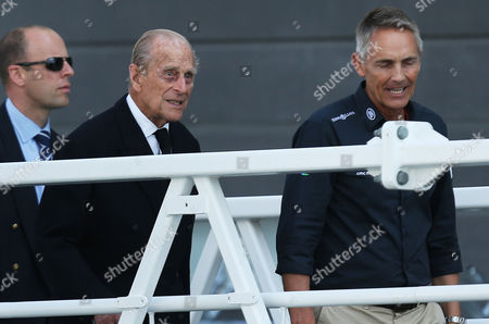 The Duke of Edinburgh Prince Philip leaves a pontoon after watching the racing on board a Land Rover BAR boat with Land Rover BAR CEO Martin Whitmarsh during Day One of the Louis Vuitton America's Cup World Series Portsmouth, Hampshire on July 22nd 2016