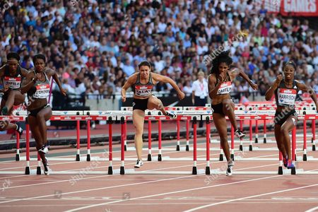 Kendra Harrison (USA) on her to a new world record in the 100m hurdles during the Muller Anniversary Games at the Stadium, Queen Elizabeth Olympic Park, London