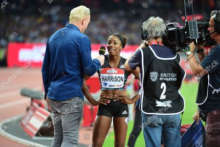 Kendra Harrison (USA) interviewed after a new world record during the 100m at Muller Anniversary Games at the Stadium, Queen Elizabeth Olympic Park, London