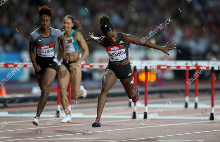 USA's Kendra Harrison wins the Women's 100m hurdles final and breaks the World Record during Day 1 of the Muller Anniversary Games at The Stadium, Queen Elizabeth Olympic Park, London on July 22nd 2016