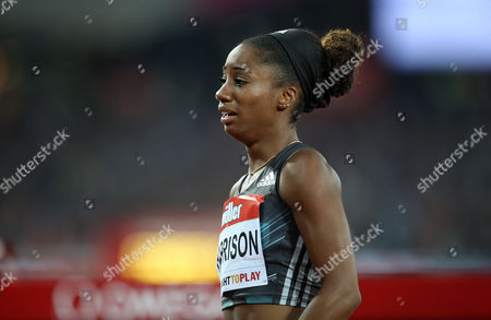 USA's Kendra Harrison reacting after winning the Women's 100m hurdles final and breaks the World Record during Day 1 of the Muller Anniversary Games at The Stadium, Queen Elizabeth Olympic Park, London on July 22nd 2016