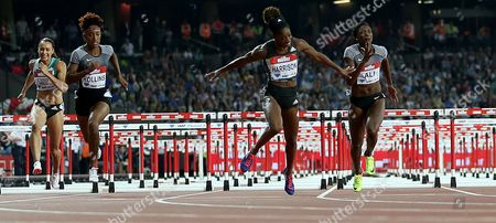 USA's Kendra Harrison (2nd right) wins the Women's 100m hurdles final and breaks the World Record during Day 1 of the Muller Anniversary Games at The Stadium, Queen Elizabeth Olympic Park, London on July 22nd 2016