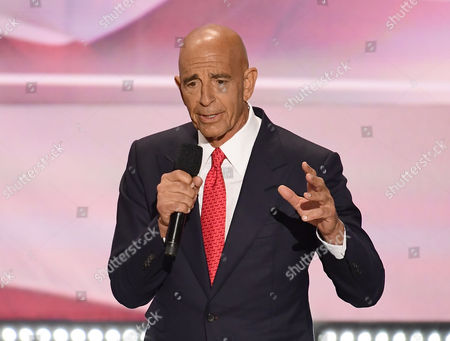 Tom Barrack, CEO of Colony Capital, makes remarks at the 2016 Republican National Convention held at the Quicken Loans Arena in Cleveland, Ohio.