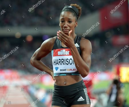 Kendra Harrison USA celebrates after winning the 100m Huedles Women - Final with a World Record