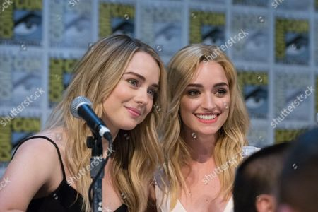 Actor Hannah Kasulka and Brianne Howey pose during a panel for the show The Exorcist