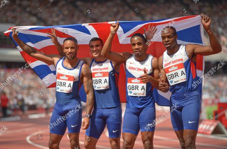 James Ellington, Adam Gemili, Chijindu Ujah, and James Dasolu (GBR) celebrate winning the Men's 4x100m Relay during Day 2 of the Muller Anniversary Games at The Stadium, Queen Elizabeth Olympic Park, London on July 23nd 2016
