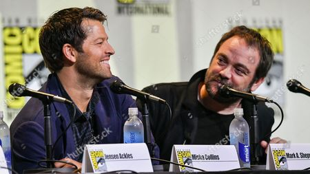 Stock Photo of Misha Collins and Mark A Sheppard