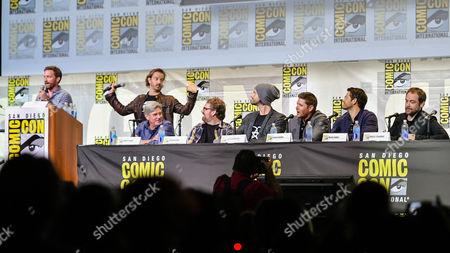 Cast of Supernatural, producer Richard Speight Jr., Robert Singer, producer Andrew Dabb, Jared Padalecki, Jensen Ackles, Misha Collins, Mark A Sheppard,