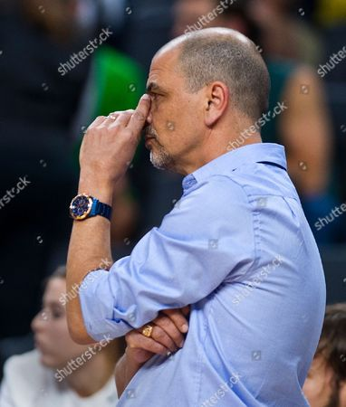 Argentina head coach Sergio Hernandez is concerned on the sideline during the first half of their warm-up international exhibition game versus the United States , in Las Vegas
