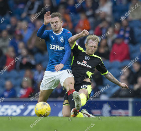 25/07/16... IBROX STADIUM - GLASGOW. Rangers v Stranraer Betfred Cup. Rangers Barrie Mckay (left) and Scott Agnew (right)