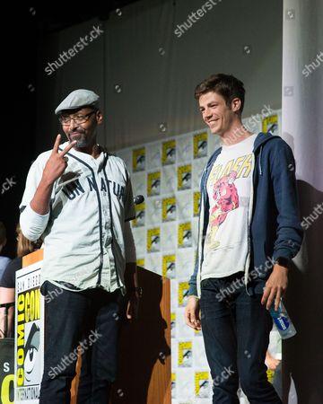 Jesse L Martin (L) and Grant Gustin