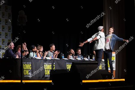 Producer Aaron Helbing, Tom Felton, Carlos Valdes, Danielle Panabaker, Tom Cavanagh, Grant Gustin, Jesse L Martin, Candice Patton, Keiynan Lonsdale, Todd Helbing and moderator Damian Holbrook