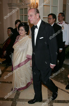 Urmila, wife of Singapore President SR Nathan and Prince Philip attending a state banquet at the 'Istana' presidential palace
