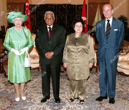 Queen Elizabeth II, Singapore President SR Nathan accompanied by his wife Urmila, Prince Philip at the Presidential Palace
