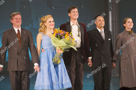 Andy Watkins (Ensemble), Pixie Lott (Holly Golightly), Matt Barber (Fred) and Andrew Joshi (Yunioshi) during the curtain call