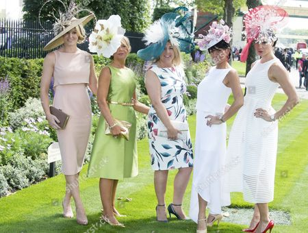 Ladies Arriving For The First Day Of Royal Ascot Near Windsor Including Amy Guy And Jenny Pacey From London.
