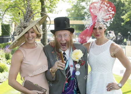 Stock Photo of Ladies Arriving For The First Day Of Royal Ascot Near Windsor Including Pundit John Mccricrick With Gladiators Amy Guy And Jenny Pacey.