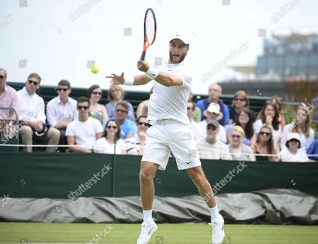 Wimbledon Tennis Championship 2015 - Day 01: Liam Broady V Marinko Matosevic. Pic Shows:- Liam Broady.