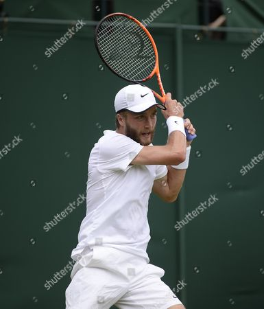 Stock Image of Wimbledon Tennis Championship 2015 - Day 01: Liam Broady V Marinko Matosevic. Pic Shows:- Liam Broady.