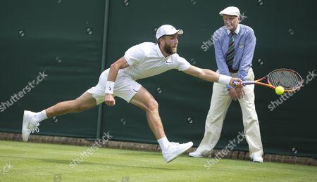Stock Photo of Wimbledon Tennis Championships 2015 - Day 1: Liam Broady V Marinko Matosevic. Pic Shows: Liam Broady.