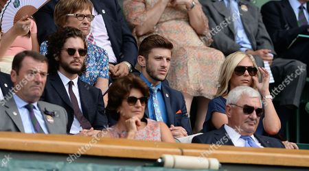 Wimbledon 2015 Tennis Championships Wimbledon London Roger Federer V Sam Querry Actor Kit Harington And Footballer Adam Lallana In The Royal Box.