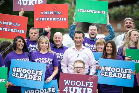 Steven Woolfe MEP poses with supporters
