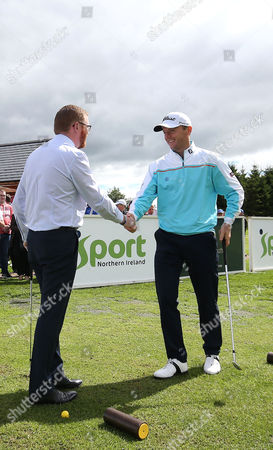 NI Open Tournament Ambassador Michael Hoey pictured along with Economy Minister Simon Hamilton as Galgorm Castle's Fun Golf Area officially opens